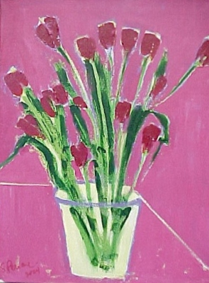 "Marietta's Tulips (2000) acrylic on canvas 18"" x 24"""