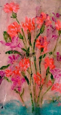 "Carnations (2003)  acrylic on canvas  11"" x 20"""