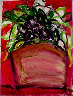 "African Violets (2004)  acrylic on canvas  30"" x 36"""