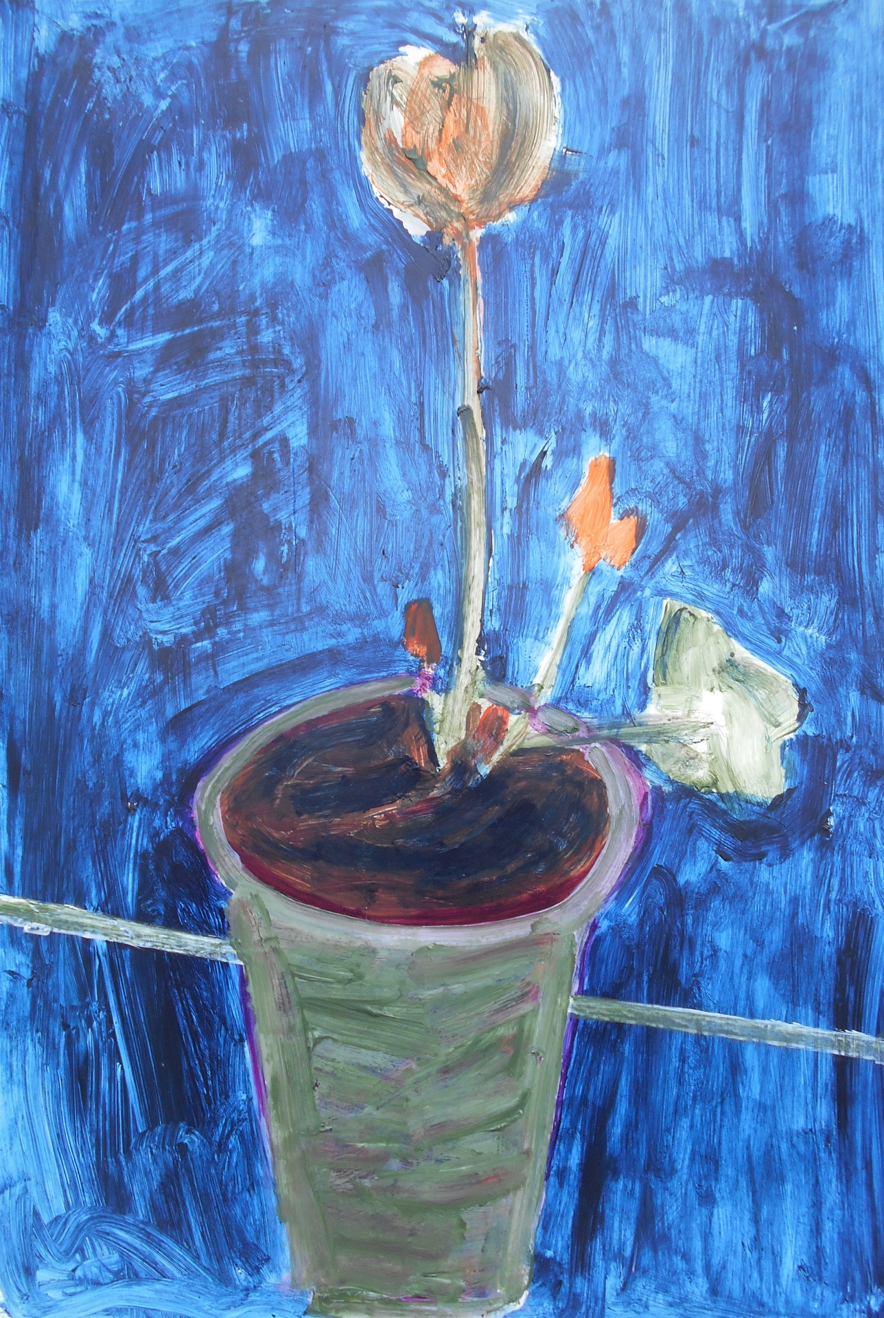 "Orange Flower (2012) acrylic on foam board 20"" x 30"""