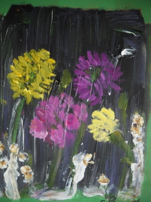 "Flowers in the Rain (2003)  acrylic on a wood slab 10.5"" x 12"""